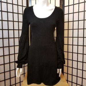 H&M black mid length dress with puffy sleeves